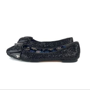 Tory Burch Divine Sequin Bow Leather Ballet Flats
